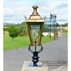 Brass Dorchester Pillar Light and Lantern Set  in Situ on the Drive Way