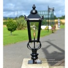 Victorian Pillar Light and Lantern Set in Situ on a Driveway