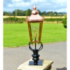 Copper Victorian Pillar Light and Lantern Set in Situ on the Driveway
