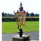 Copper Hexagonal Pillar Light and Lantern Set 102cm