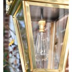 Close up of wall lantern and bulb