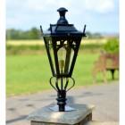 Black Gothic Pillar Light and Lantern Set on a Brick Pillar