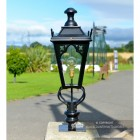 81cm Black Gothic Pillar Light and Lantern Set in Situ on Adriveway