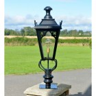 81cm Black Gothic Pillar Light and Lantern Set in Situ on a Brick Pillar