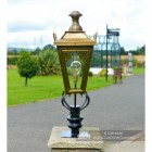 Brass Gothic Pillar Light and Lantern Set in Situ on a Drive Way