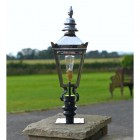 Bright Chrome Harrogate Pillar Light and Lantern Set in Situ on a Driveway