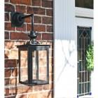 Black modern wall lantern by front door