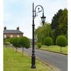 Antique Brown Cast Iron Ornate Swan Neck Lamp Post