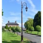 Deluxe Antique Copper Ornate Cast Iron Swan Neck Lamp Post