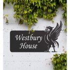 Black Liver Bird Iron House Name Sign on a White Wall