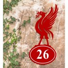 Liver Bird Iron House Number Sign in Situ on a Rustic Wall