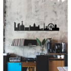 Metal Liverpool Skyline Wall Art  on a rustic Wall
