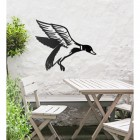 """""""Mallard"""" Duck Wall Art in the Garden Above a Wooden Table and Chair Set"""
