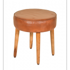 Mango Wood and Dark Brown Goat Leather Stool