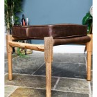 Square Stool Created with Mango Wood and Brown Goat Leather