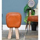 Side View of the Mango Wood & Tan Goat Leather Bug Stool Sitting in the House