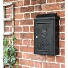Black Wall Mounted Post Box in Situ on the Wall
