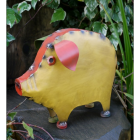 """""""Marnford Estate"""" Pig Sculpture in a Yellow & Red Finish"""
