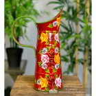 Side View of the Small Red Traditional Hand Painted Narrowboat Style Jug