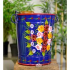 Hand Painted Log Bucket with Hand Painted Design