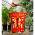 Red Hand Painted XL Log Bucket to Scale