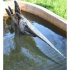 Metal Swordfish Sculpture in Situ in a Fountain