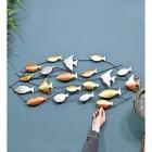 Metallic Swimming Fish Wall Art to Scale