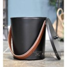 Modern Black With Leather Handle Ash Bucket with removable Lid