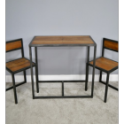 Two Iron and Wood Chair Table Set