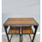 Modern Industrial Style Table & Chair Set Stored Away