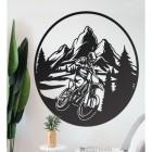 Circular Black Wall Art with Motorcross Design