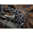 Life-sized highly detailed motorcycle sculpture with barbeque and tools set