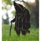 Mr Badger With Walking Stick Silhouette in Use in the Garden
