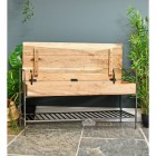 Natural Wood and Metal Opening Storage Bench