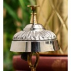 Detailed image of polished aluminium and brass desk bell
