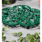 Cast Iron Flower Petal Trivet in Green Side Angle