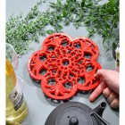 Red Cast Iron Flower Petal Trivet to Scale