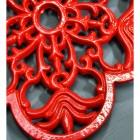 Red Cast Iron Flower Petal Trivet Petal Detailing