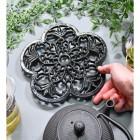 Black Cast Iron Flower Trivet to Scale