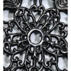 Black Cast Iron Flower Trivet Centre Close-Up