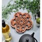 Rustic Cast Iron Flower Trivet in Situ