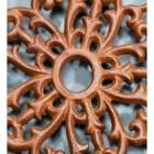 Rustic Cast Iron Flower Trivet Centre Close-Up