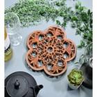 Rustic Cast Iron Flower Trivet in Situ with Teapot