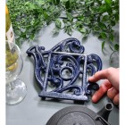 Blue Cast Iron Kettle Trivet to Scale