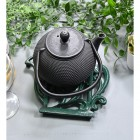 Green Cast Iron Kettle Trivet with Teapot