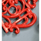Red Cast Iron Kettle Trivet Close Ups