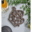 Rustic Kettle Shaped Cast Iron Trivet Angled