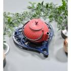 Blue Heavy Duty Heart Trivet in Use with Teapot