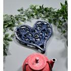 Blue Heavy Duty Heart Trivet in Situ with Teapot
