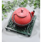 Green Square Cast Iron Trivet in Use with Teapot
